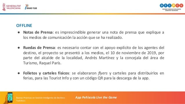 OFFLINE App Peñíscola Live the GameBuenas Prácticas en Gestión Inteligente de Destinos Turísticos ● Notas de Prensa: es im...