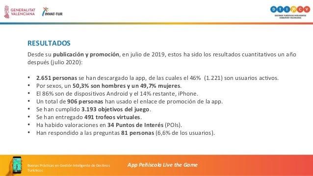 RESULTADOS App Peñíscola Live the GameBuenas Prácticas en Gestión Inteligente de Destinos Turísticos Desde su publicación ...