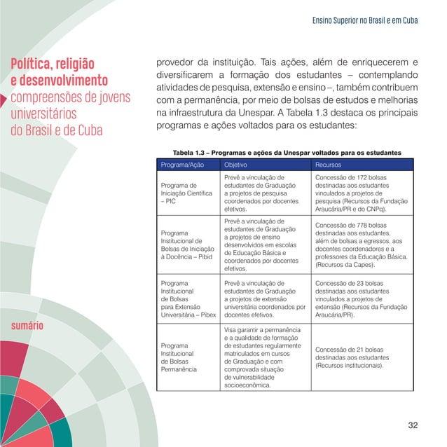 Ensino Superior no Brasil e em Cuba 34 sendo que predominavam os cursos nas áreas de humanidades, em detrimento de outros ...