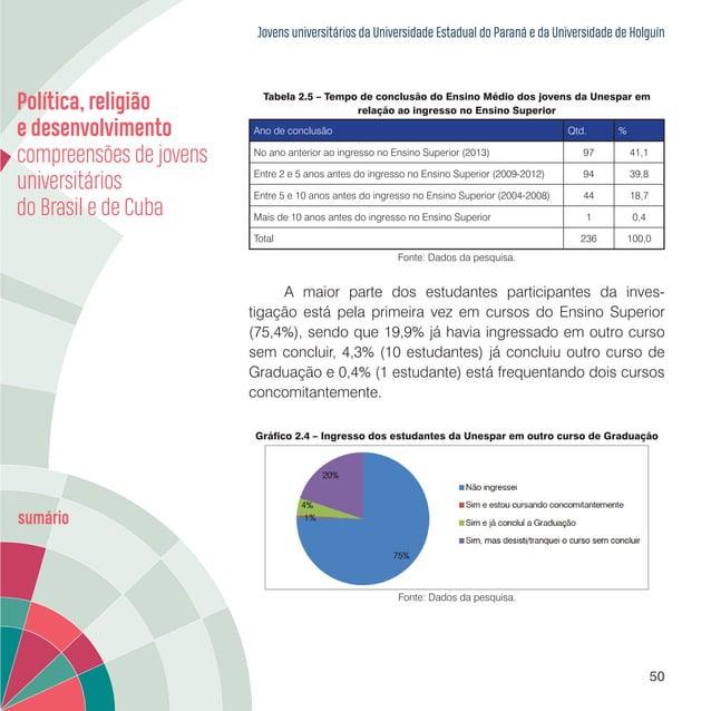 Jovens universitários da Universidade Estadual do Paraná e da Universidade de Holguín 52 Tabela 2.6 – Distribuição dos est...