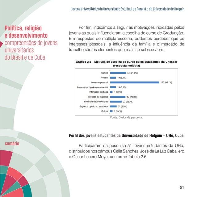 Jovens universitários da Universidade Estadual do Paraná e da Universidade de Holguín 53 Gráfico 2.6 – Distribuição dos es...