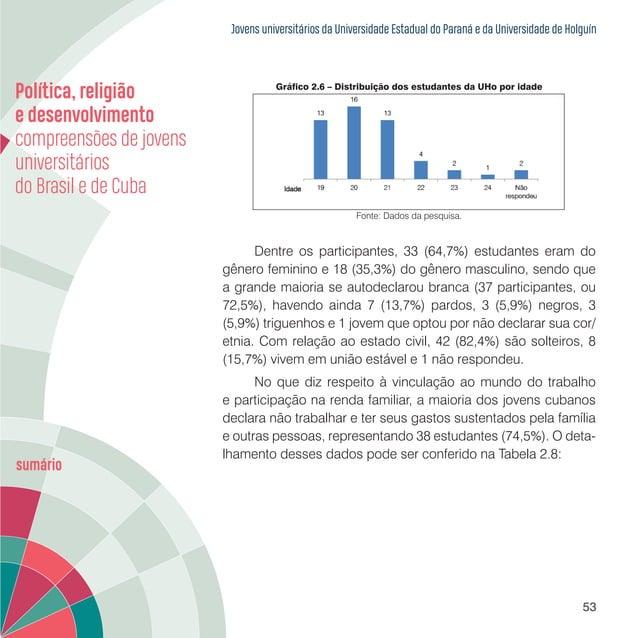 Jovens universitários da Universidade Estadual do Paraná e da Universidade de Holguín 55 Tabela 2.9 – Trabalho e estudo do...