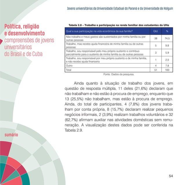 Jovens universitários da Universidade Estadual do Paraná e da Universidade de Holguín 56 A escolaridade dos pais e das mãe...