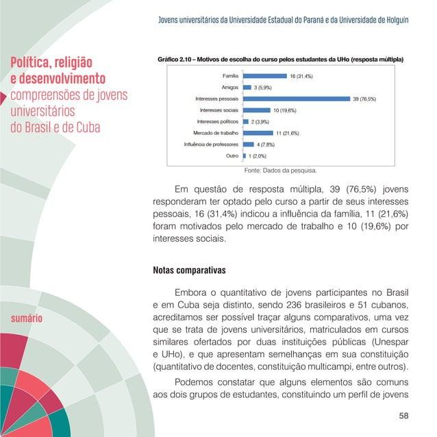 Jovens universitários da Universidade Estadual do Paraná e da Universidade de Holguín 60 que apenas 2,0% dos jovens cubano...