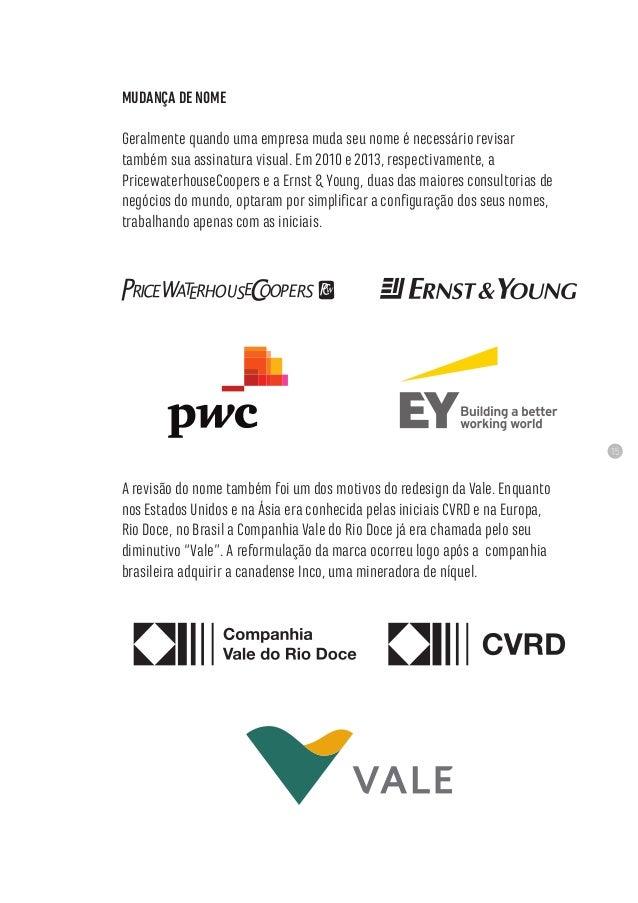 15 MUDANÇA DE NOME Geralmente quando uma empresa muda seu nome é necessário revisar também sua assinatura visual. Em 2010 ...