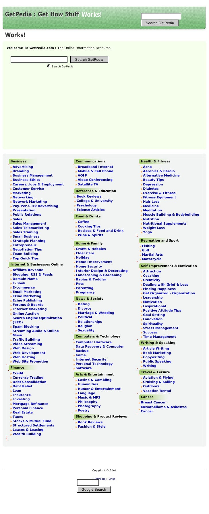 Business                       Communications                 Health & Fitness  Advertising                    Broadband I...