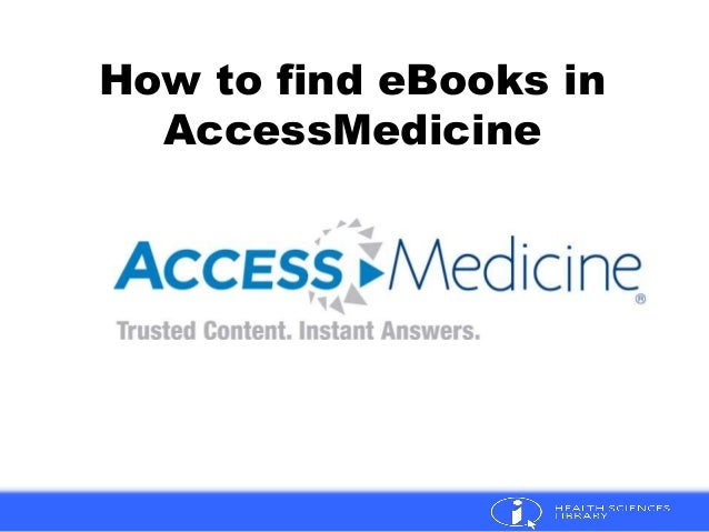 How to find eBooks in AccessMedicine