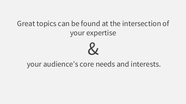 Great topics can be found at the intersection of your expertise & your audience's core needs and interests.