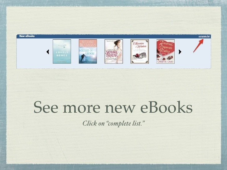 """See more new eBooks      Click on """"complete list."""""""