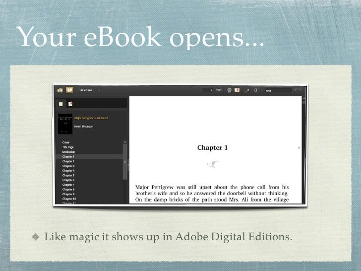 Your eBook opens...       Like magic it shows up in Adobe Digital Editions.