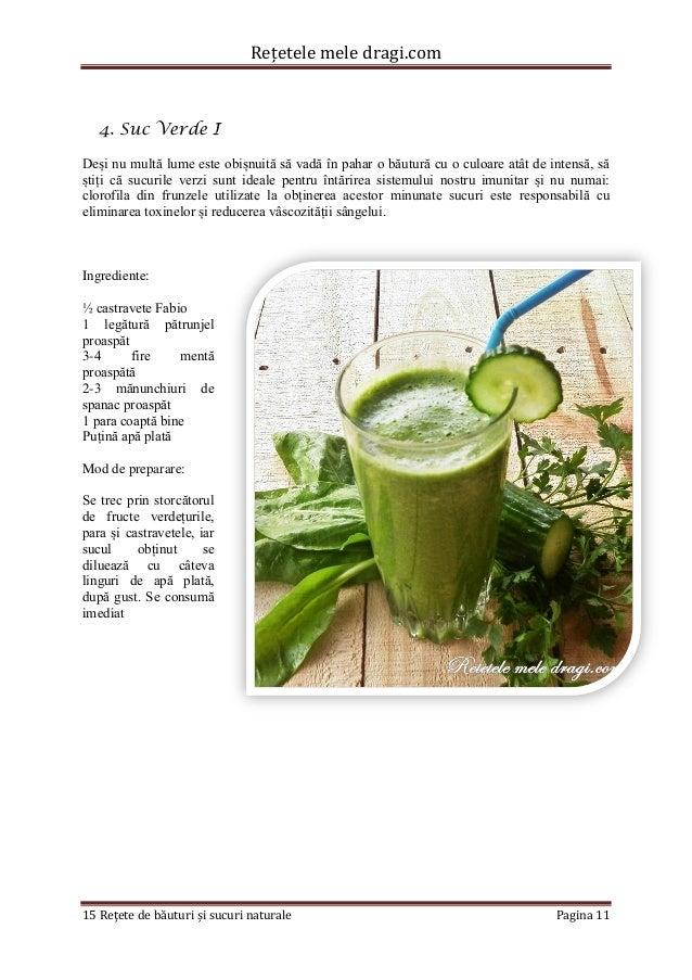 Rețetele mele dragi.com  15 Rețete de băuturi și sucuri naturale Pagina 11  4. Suc Verde I  Deși nu multă lume este obișnu...