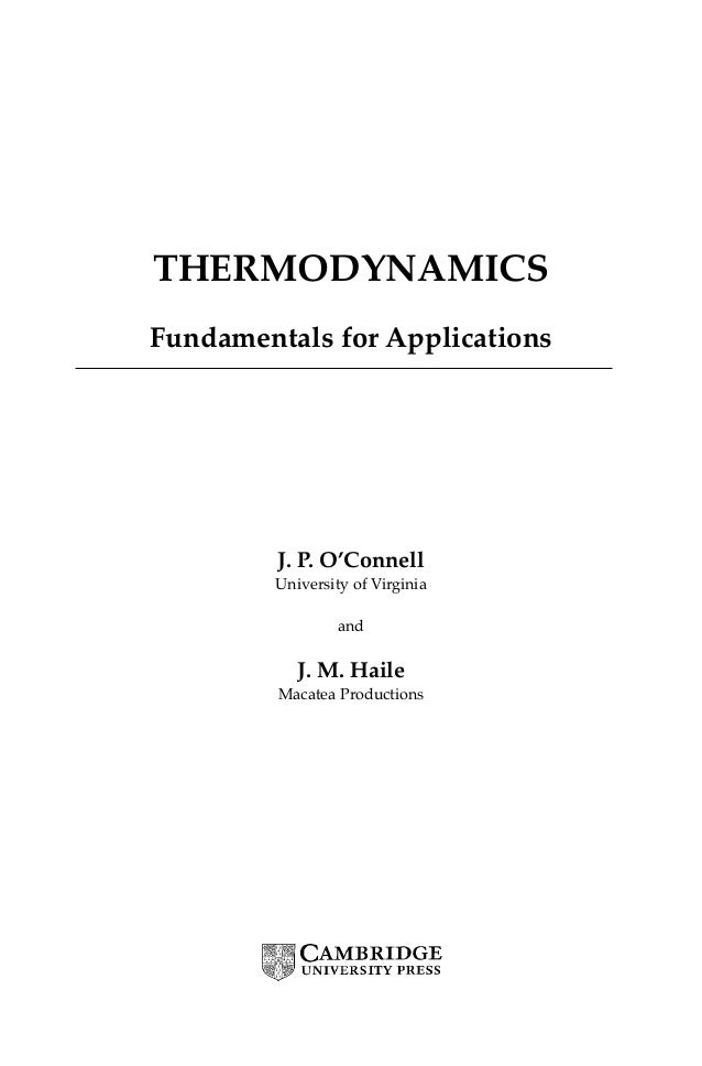e book thermodynamics fundamentals for applications j o connel rh slideshare net statistical thermodynamics fundamentals and applications solution manual Student Solutions Manual