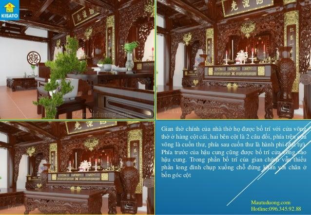 Mautuduong.com Hotline:096.345.92.88 Gian thờ chính của nhà thờ họ được bố trí với cửa võng thờ ở hàng cột cái, hai bên cộ...