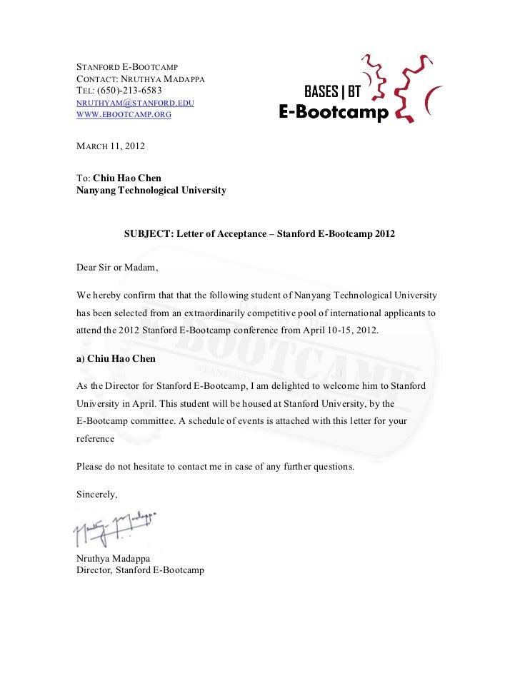 E Bootcamp Acceptance Letter