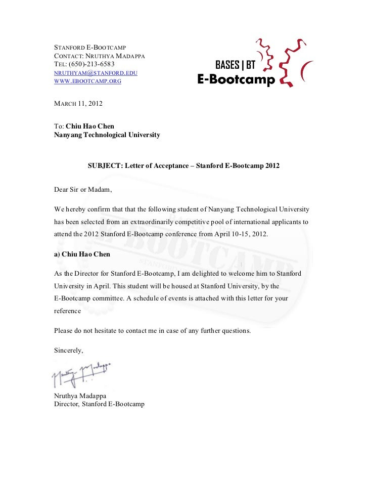 E Bootcamp Acceptance Letter. STANFORD E BOOTCAMPCONTACT: NRUTHYA  MADAPPATEL: (650) 213 6583NRUTHYAM@  Acceptance Letter