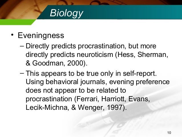 relationship between procrastination and conscientiousness