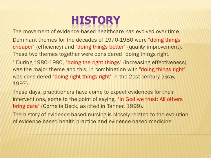 Utilising evidence based care essay