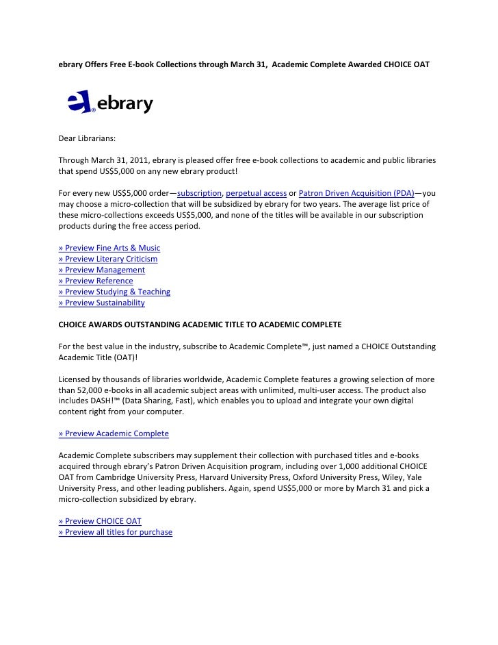 ebrary Offers Free E‐book Collections through March 31,  Academic Complete Awarded CHOICE OAT                             ...