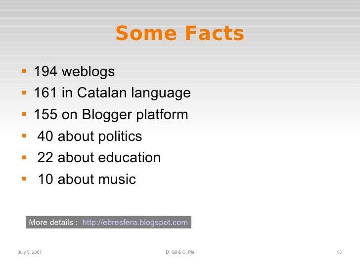 Some Facts <ul><li>194 weblogs </li></ul><ul><li>161 in Catalan language </li></ul><ul><li>155 on Blogger platform </li></...