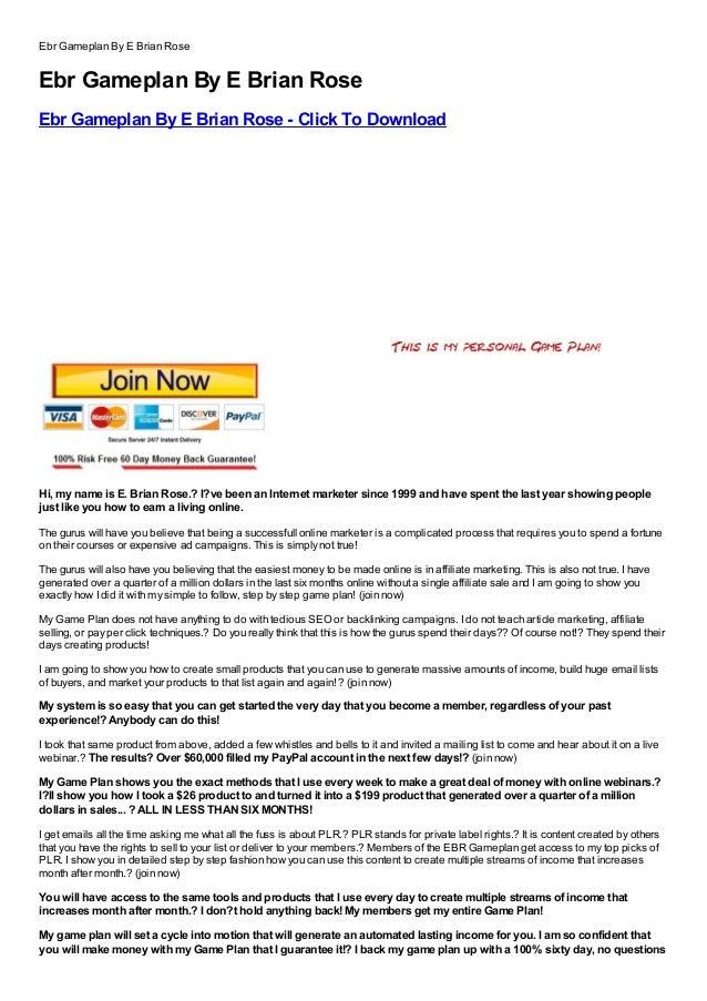 Ebr Gameplan By E Brian RoseEbr Gameplan By E Brian RoseEbr Gameplan By E Brian Rose - Click To DownloadFree, Buy, Full Ve...