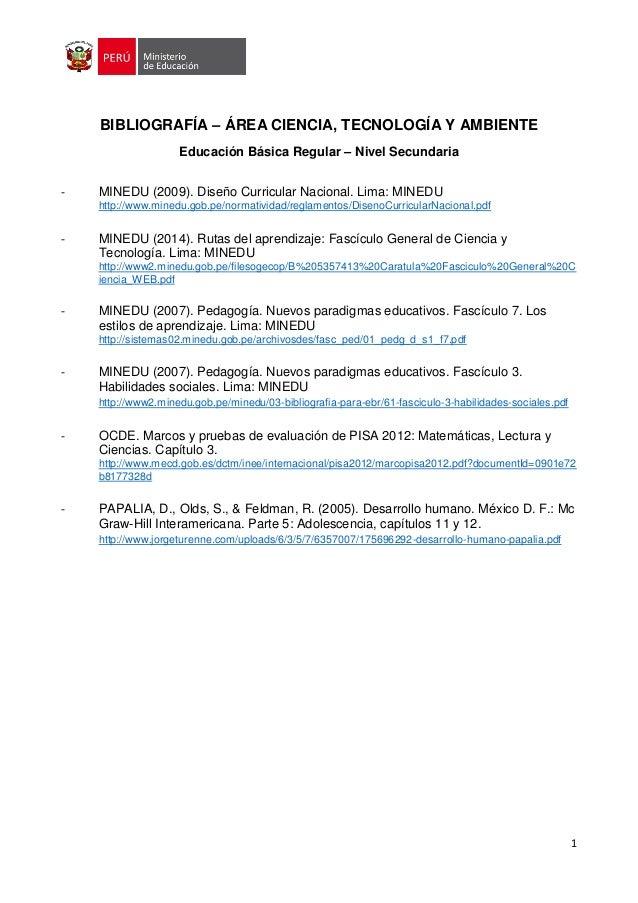 1 BIBLIOGRAFÍA – ÁREA CIENCIA, TECNOLOGÍA Y AMBIENTE Educación Básica Regular – Nivel Secundaria - MINEDU (2009). Diseño C...