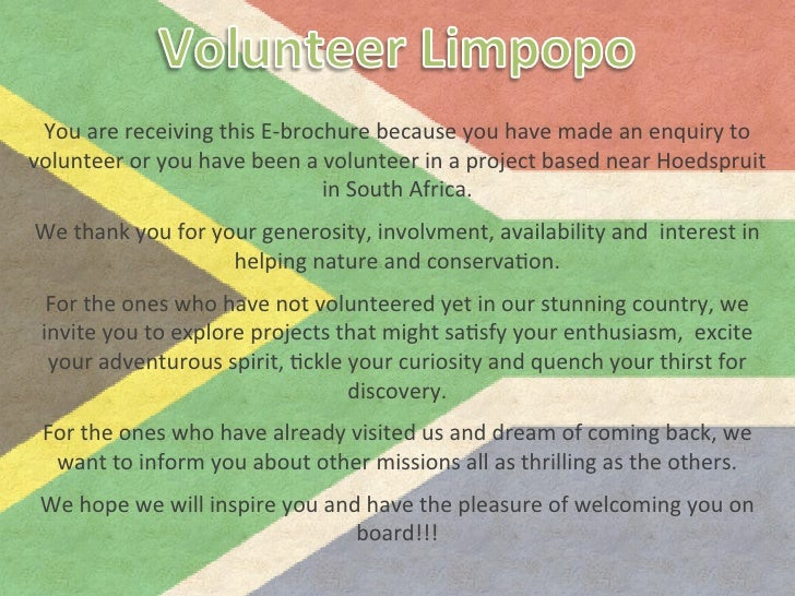 You	  are	  receiving	  this	  E-­‐brochure	  because	  you	  have	  made	  an	  enquiry	  to	         volunteer	  or	  yo...