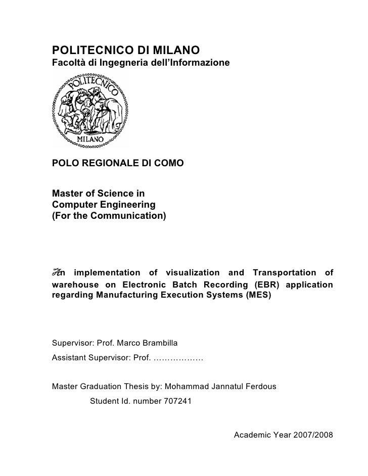 POLITECNICO DI MILANO Facoltà di Ingegneria dell'Informazione     POLO REGIONALE DI COMO   Master of Science in Computer E...