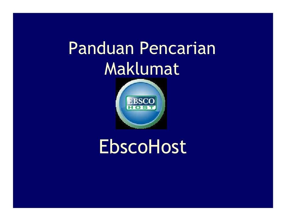 Panduan Pencarian     Maklumat       EbscoHost