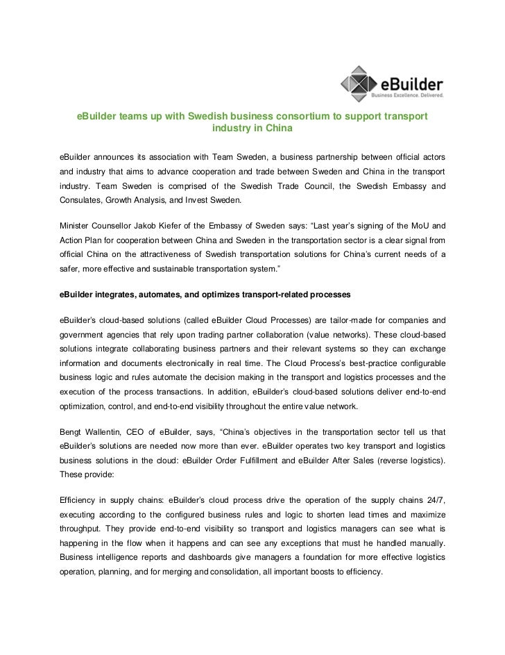 eBuilder teams up with Swedish business consortium to support transport                               industry in ChinaeBu...