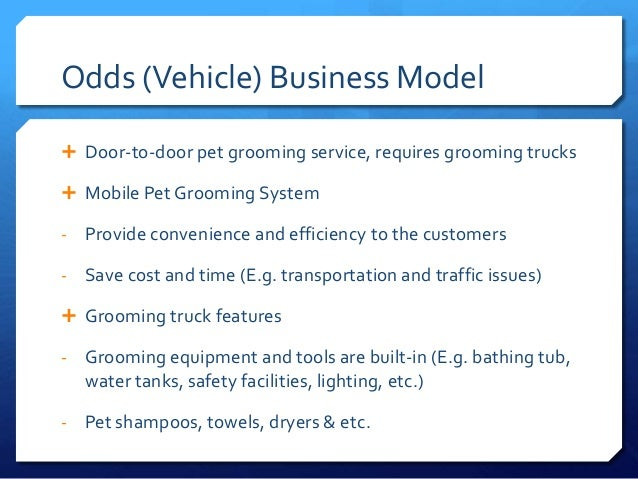 Business plans for mobile dog grooming