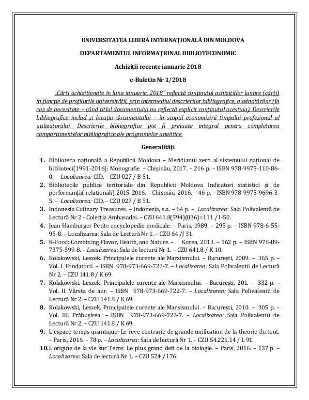 UNIVERSITATEA LIBERĂ INTERNAŢIONALĂ DIN MOLDOVA DEPARTAMENTUL INFORMAŢIONAL BIBLIOTECONOMIC Achiziţii recente ianuarie 201...