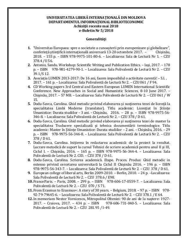 UNIVERSITATEA LIBERĂ INTERNAŢIONALĂ DIN MOLDOVA DEPARTAMENTUL INFORMAŢIONAL BIBLIOTECONOMIC Achiziţii recente mai 2018 e-B...