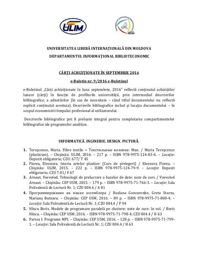 UNIVERSITATEA LIBERĂ INTERNAŢIONALĂ DIN MOLDOVA DEPARTAMENTUL INFORMAŢIONAL BIBLIOTECONOMIC CĂRŢI ACHIZIŢIONATE ÎN SEPTEMB...