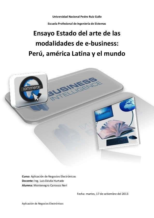 Aplicación de Negocios Electrónicos Universidad Nacional Pedro Ruíz Gallo Escuela Profesional de Ingeniería de Sistemas En...