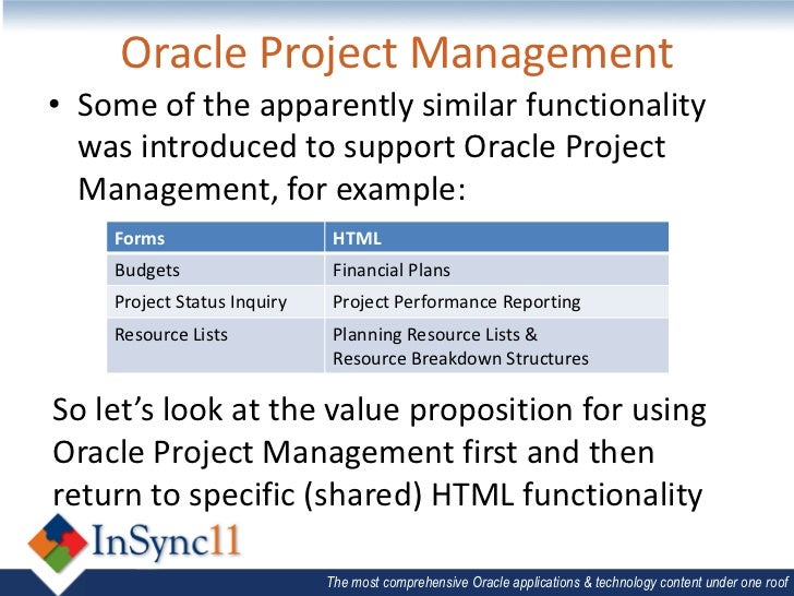 oracle project management Oracle ppm cloud is a complete and integrated solution for project and financial management, dramatically improving the way project-driven organizations work.