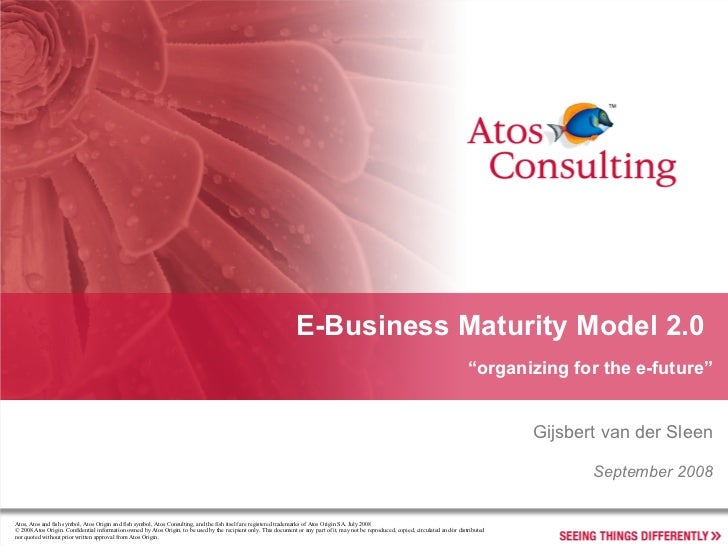 "E-Business Maturity Model 2.0  "" organizing for the e-future"" Gijsbert van der Sleen September 2008"