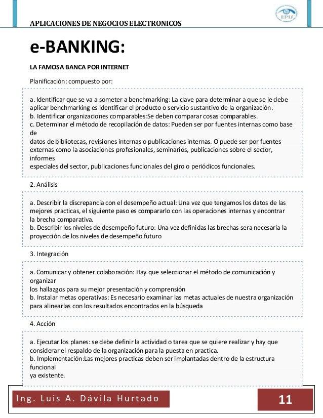 APLICACIONES DE NEGOCIOS ELECTRONICOSI n g . L u i s A . D á v i l a H u r t a d o 11e-BANKING:LA FAMOSA BANCA POR INTERNE...