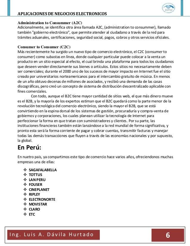 APLICACIONES DE NEGOCIOS ELECTRONICOSI n g . L u i s A . D á v i l a H u r t a d o 6Administration to Consummer (A2C)Adici...