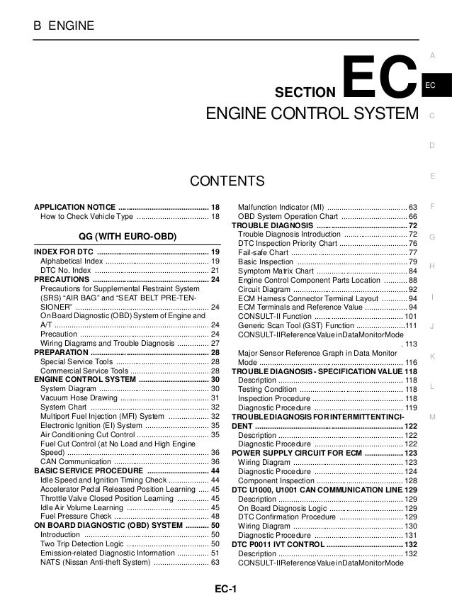 ENGINE CONTROL SYSTEM  B ENGINE  SECTION  EC  ENGINE CONTROL SYSTEM  A  EC  C  D  CONTENTS APPLICATION NOTICE ...............