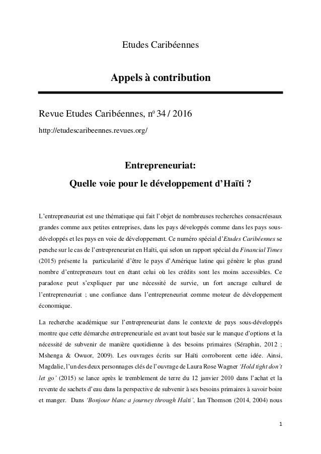 1 Etudes Caribéennes Appels à contribution Revue Etudes Caribéennes, n0 34 / 2016 http://etudescaribeennes.revues.org/ Ent...