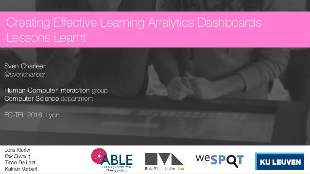 Creating Effective Learning Analytics Dashboards