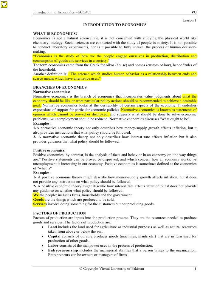 Introduction to Economics –ECO401                                                                    VU                   ...