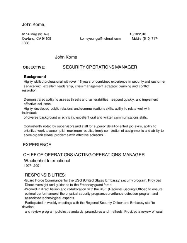 john kome 6114 majestic ave 10102016 oakland ca 94605 komeyoungs - Corporate Physical Security Guard Sample Resume