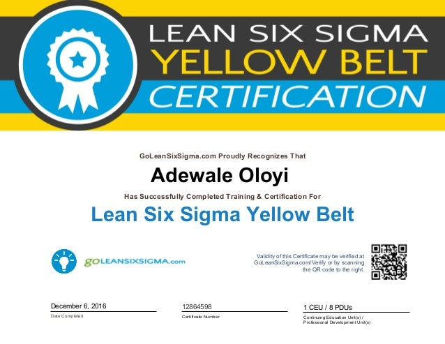 Yellow Belt Cert Lean Six Sigma
