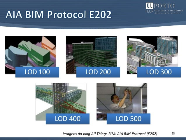 13 LOD 100 LOD 200 LOD 300 LOD 400 LOD 500 Imagens do blog All Things BIM: AIA BIM Protocol (E202)