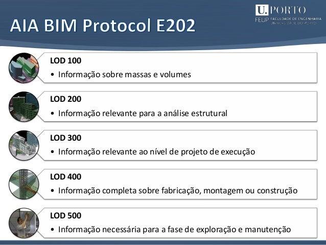 14 LOD 100 • Informação sobre massas e volumes LOD 200 • Informação relevante para a análise estrutural LOD 300 • Informaç...