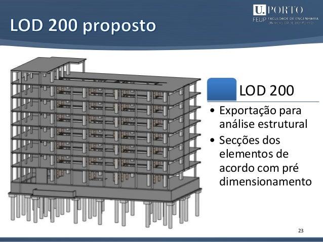 23 LOD 200 • Exportação para análise estrutural • Secções dos elementos de acordo com pré dimensionamento
