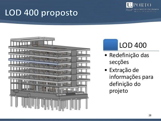 28 LOD 400 • Redefinição das secções • Extração de informações para definição do projeto