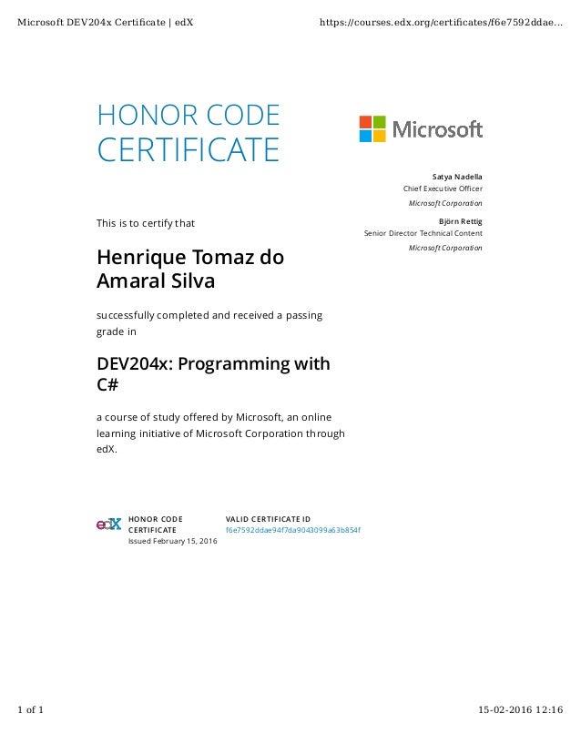 Certificate C Sharp