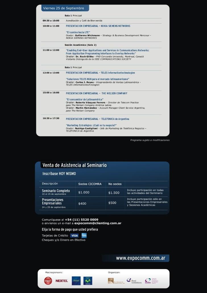 Programa del Seminario Tecnología y Mercado, Expo Comm Argentina 2009